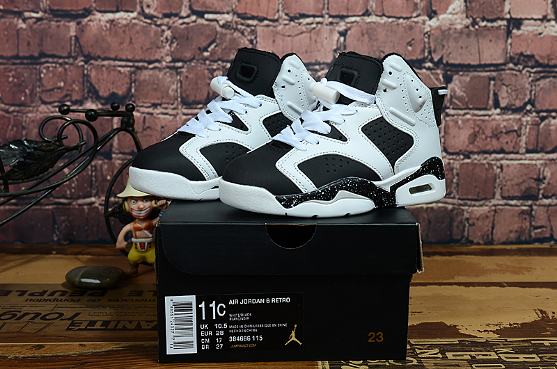 2017 Kids Jordan 6 White Black