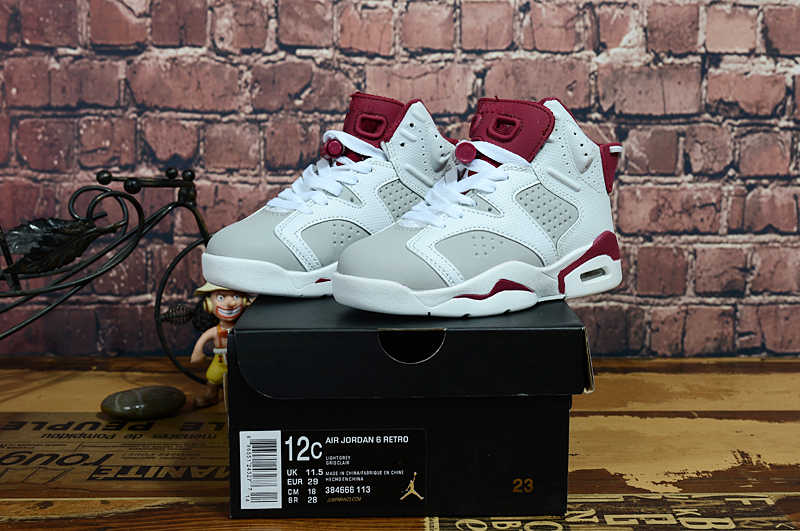 2017 Kids Jordan 6 White Grey Red