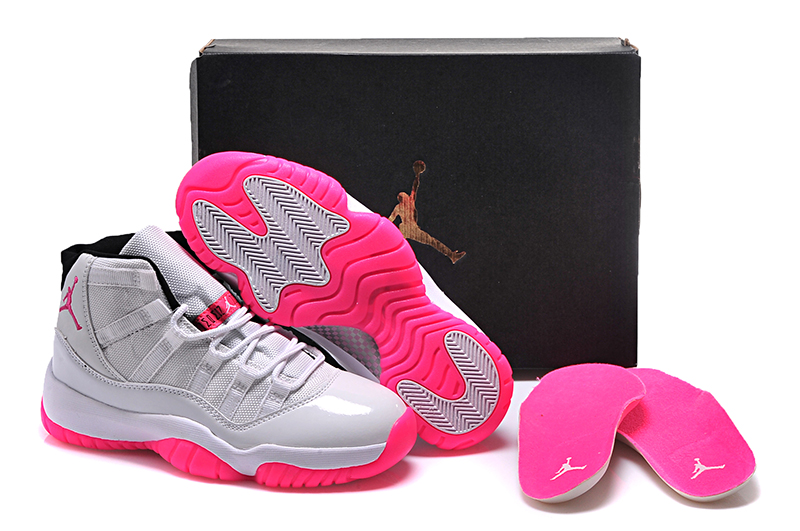 New Women Air Jordan 11 White Peach Pink Shoes