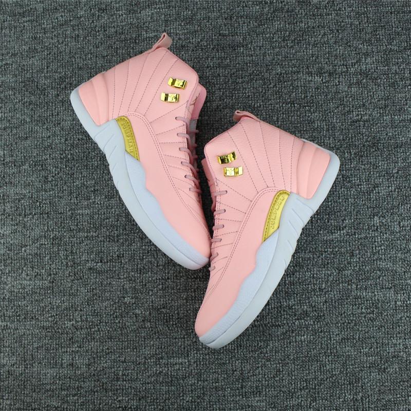 a9dffd1fc7f1 ... Retro PinkWhite-Gold 2017 Women Air Jordan 12 Pink Gold White Shoes 12  GS ...