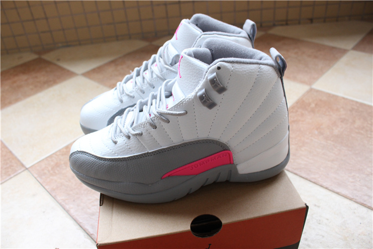 2016 Women Air Jordan 12 White Grey Pink Shoes