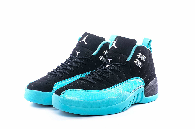 Women Jordan 12 Retro Black Blue Shoes
