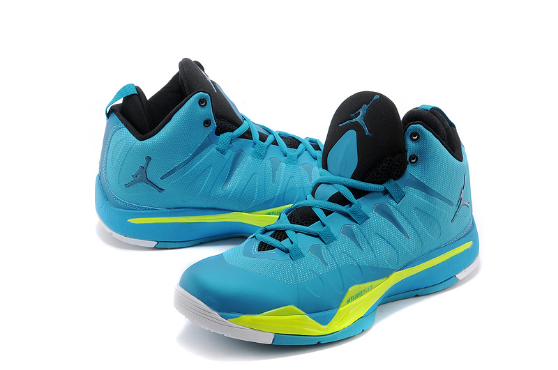 Nike Jordan Super Fly 2 Blue Yellow White Shoes