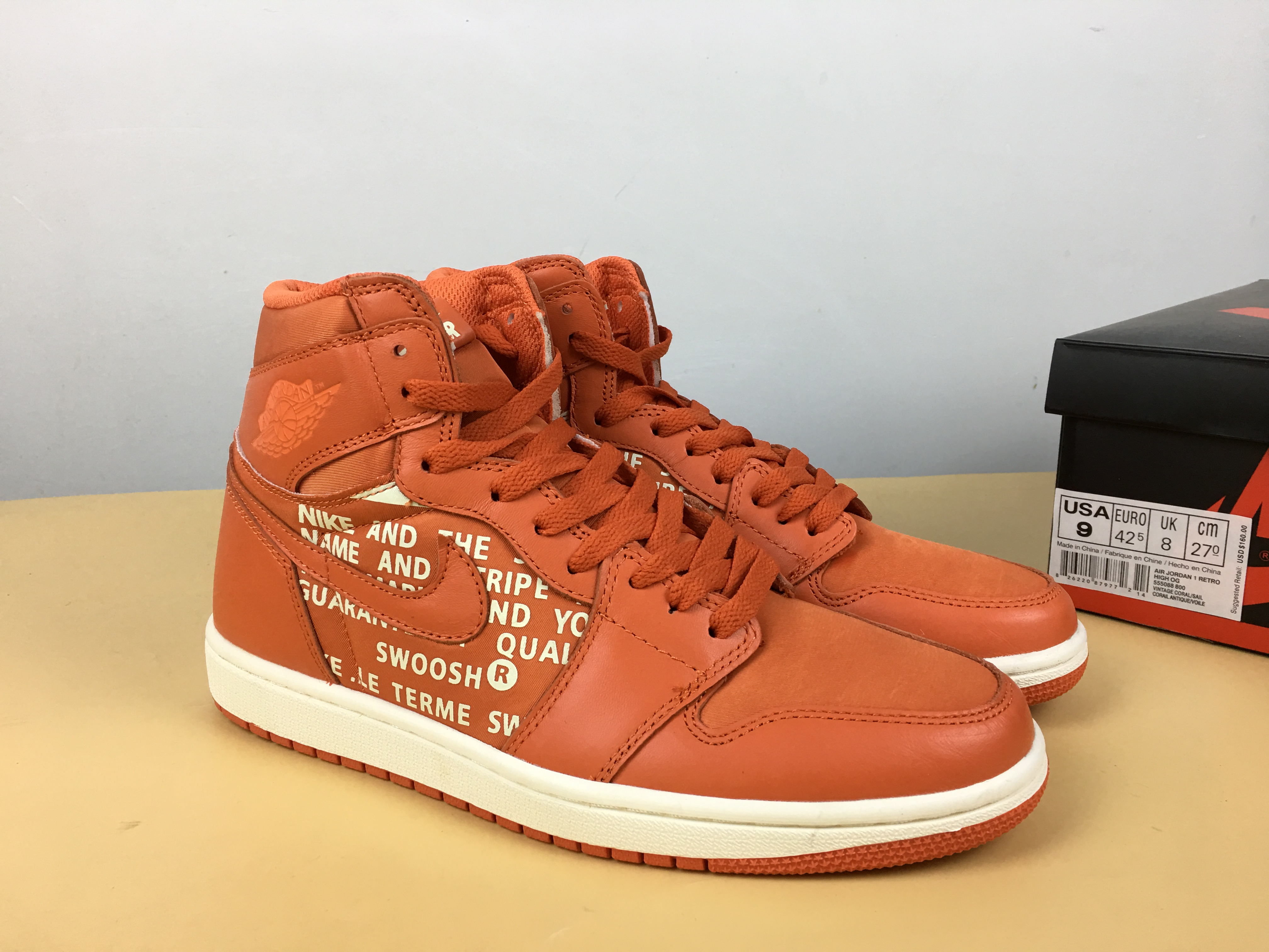 Off-whhite Air Jordan 1 Orange White Shoes
