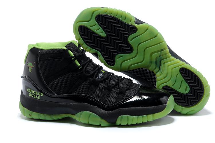 Original Air Jordan 11 Black Green Shoes