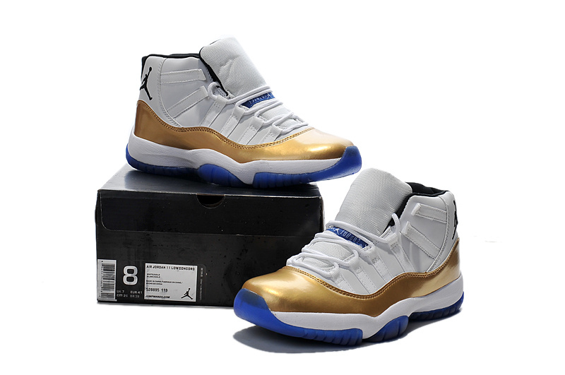 2015 Air Jordan 11 Retro White Gold Blue Sole Shoes