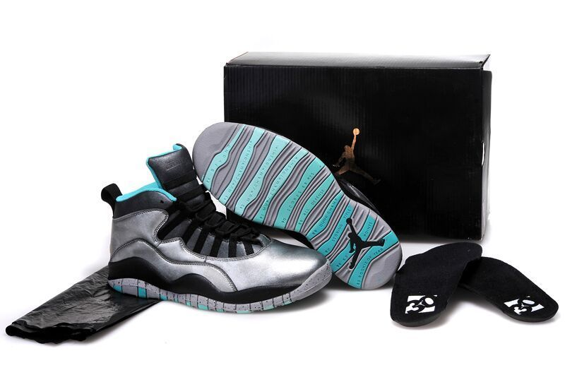 2015 Silver Black Blue Air Jordan 10 Retro Shoes