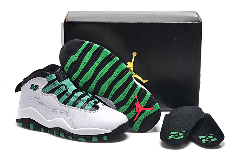 2015 White Green Black Air Jordan 10 Retro Shoes