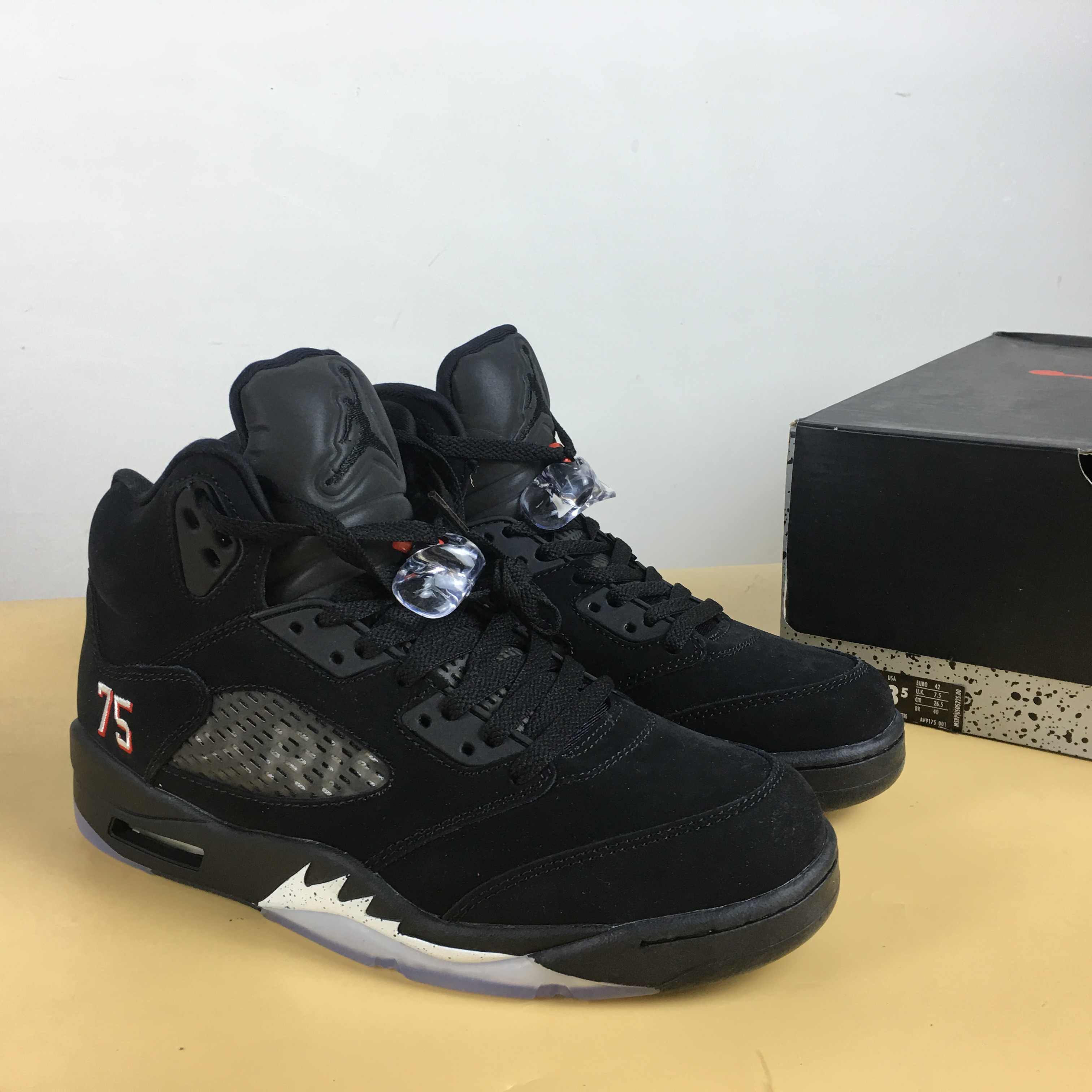 PSG x Air Jordan 5 Cool Black with Number 75 Shoes