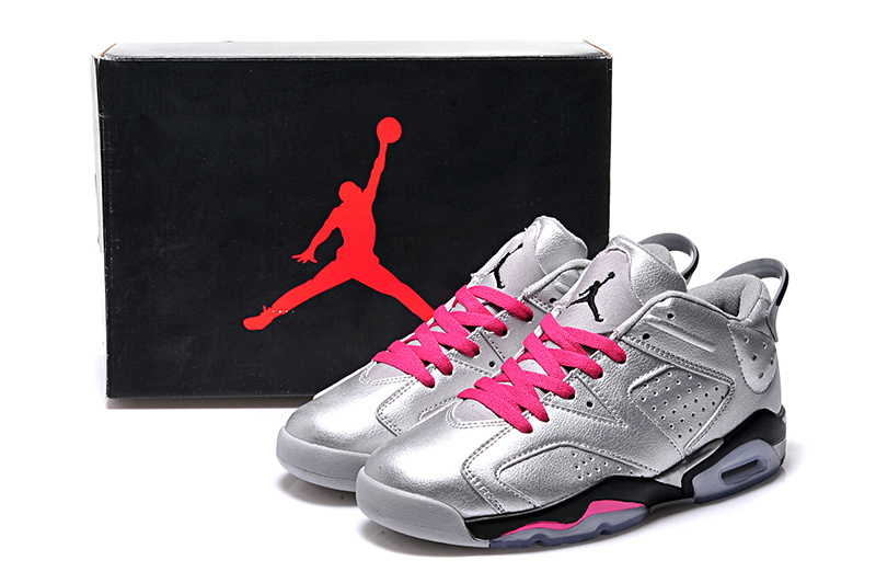 2015 Air Jordan 6 Low Silver Pink Black Shoes