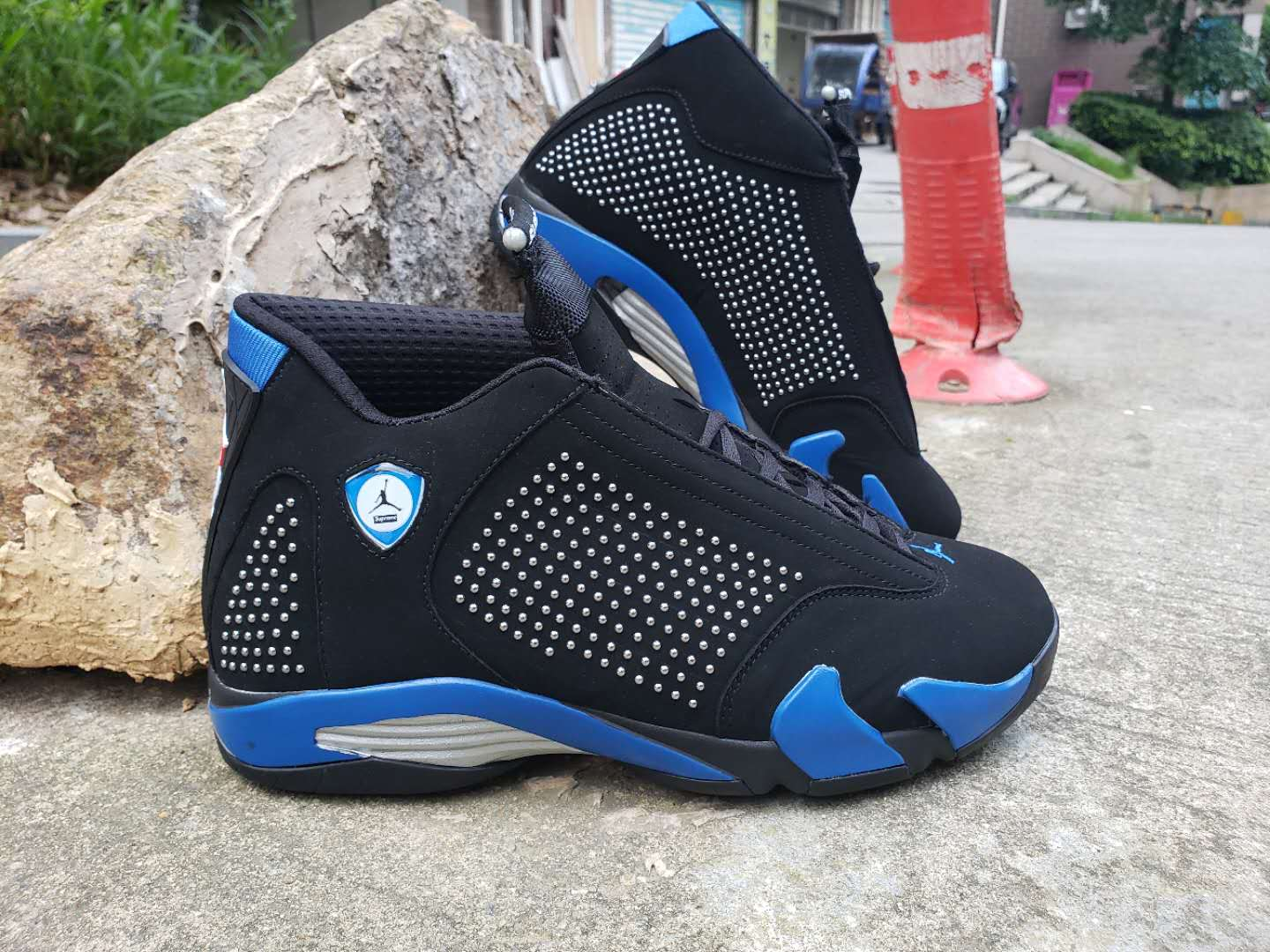 2019 Supreme x Air Jordan 14 Black Blue