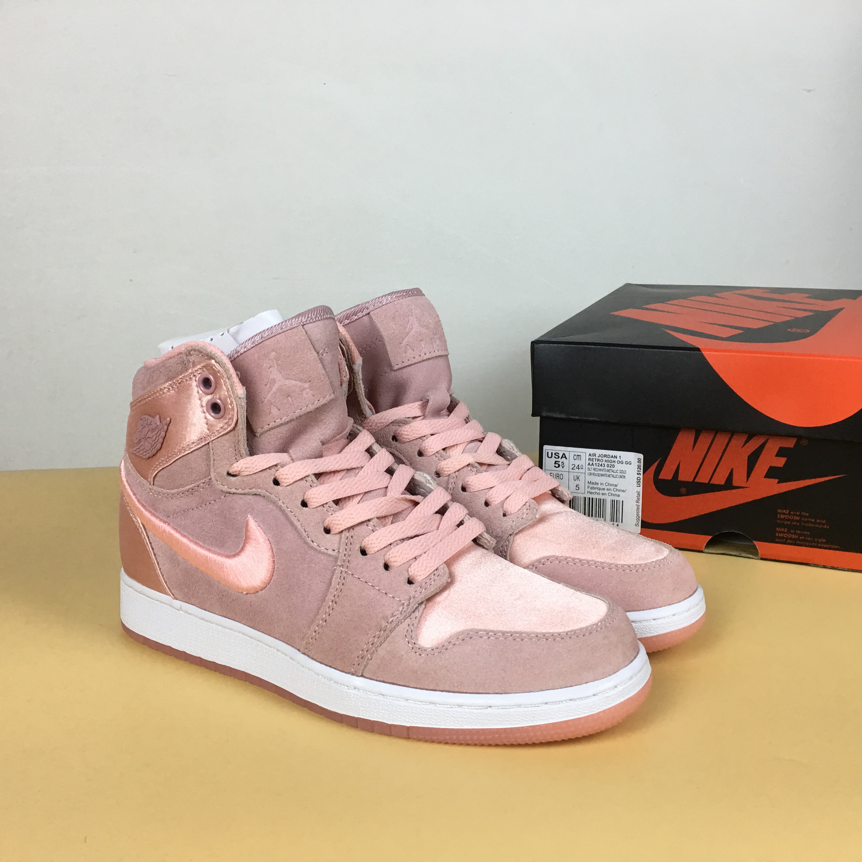 Women Air Jordan 1 Satin Pink Shoes