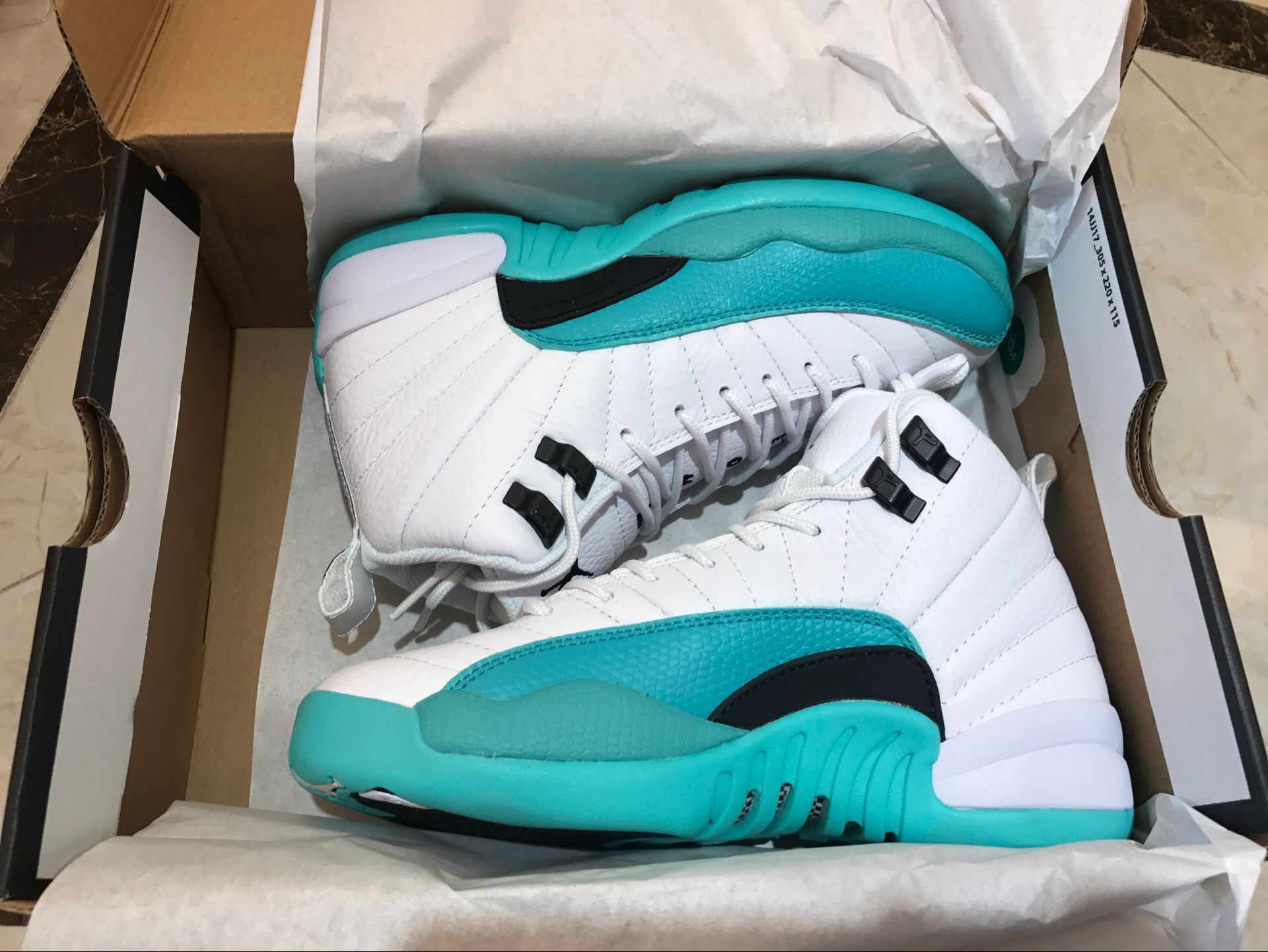 Women Air Jordan 12 White Jade Blue Shoes