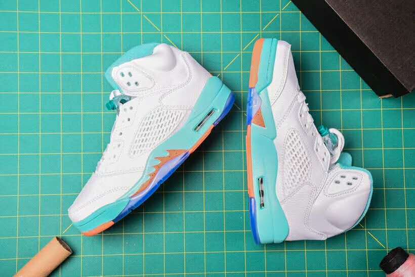 Women Air Jordan 5 Retro White Jade Orange Shoes