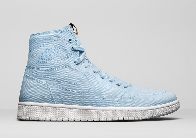 2017 Jordan 1 GS Canvas Light Blue White Shoes
