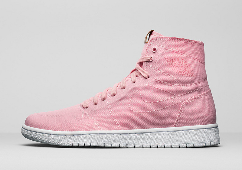 2017 Jordan 1 GS Canvas Pink White Shoes