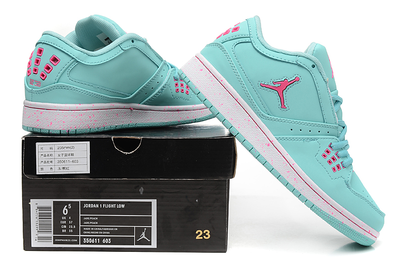 Women Air Jordan 1 Green Pink Shoes