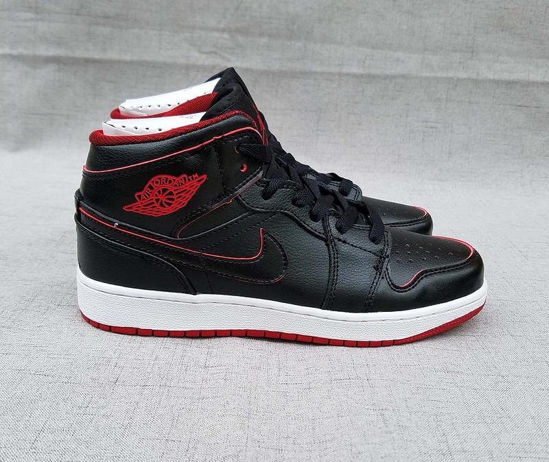 2017 Women Air Jordan 1 Mid Black Red White Shoes