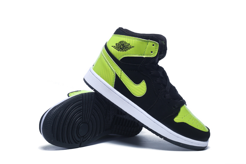 2015 Women Air Jordan 1 Retro Black Fluorscent Green Shoes