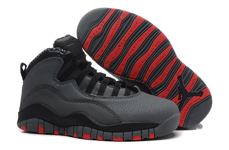 Women Air Jordan 10 Carbon Black Red Shoes