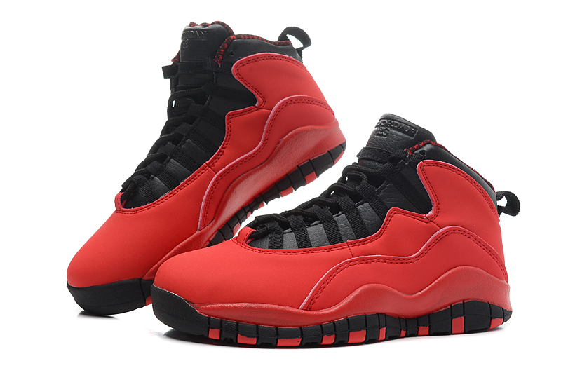 Women Air Jordan 10 Red Black Shoes