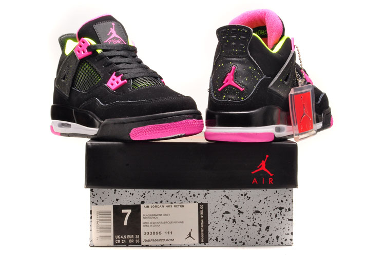Women Air Jordan 4 Black Rose Shoes
