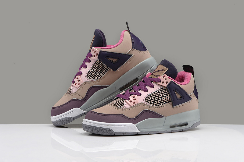 Women Air Jordan 4 Classic LV Coffe Color Shoes