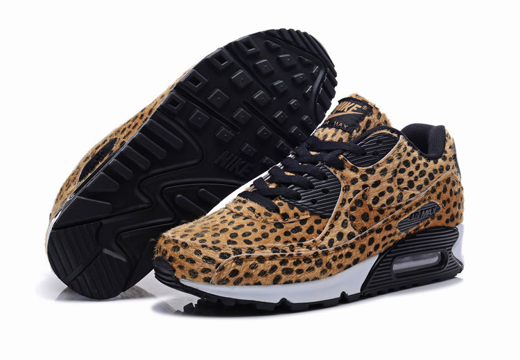 Women Cheetah Print Nike Air Max 90 Black Shoes