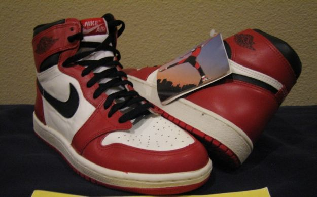 Authentic Air Jordan 1 Original 1985 White Black Red White Shoes