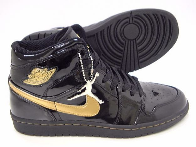 Authentic Air Jordan 1 Retro Black Metallic Gold Shoes