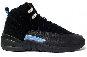 air jordan 12 black white university blue shoes
