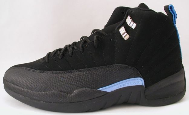 air jordan 12 retro nubucks unc black university blue shoes