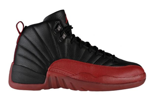 air jordan 12 retro playoffs black varsity red shoes