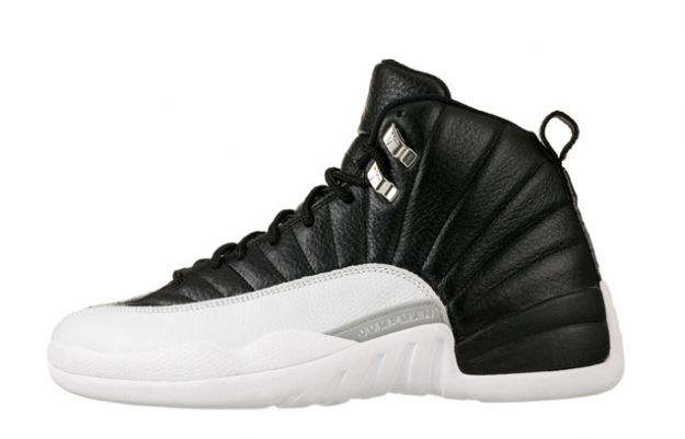 air jordan 12 retro playoffs black white shoes