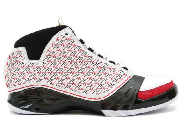 original air jordan 23 all stars white black varsity red shoes
