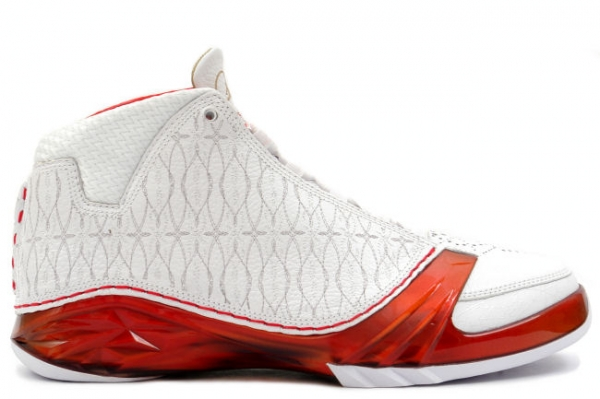 air jordan 23 white varsity red metallic silver shoes