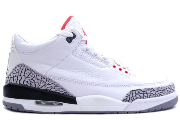 Authentic Air Jordan 3 Retro White Cement Grey Fire Red Shoes
