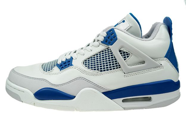 air jordan 4 retro white military blue neutral grey shoes for sale online