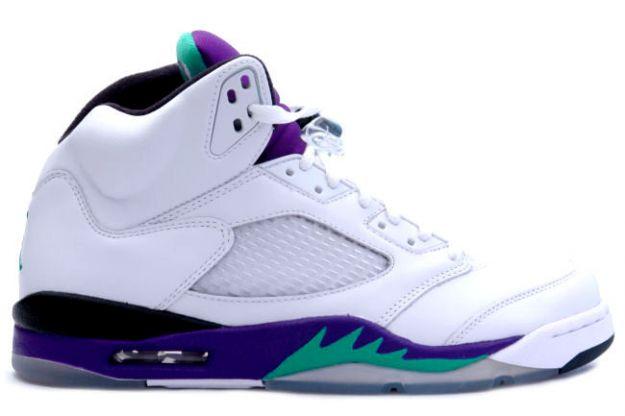 Authentic Air Jordan 5 Retro Grape White New Emerald Grape Ice Black