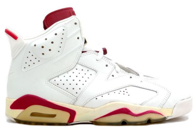 cheap air jordan 6 original og off white maroon shoes