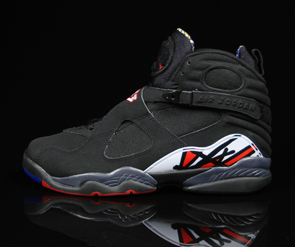 air jordan 8 retro playoffs black varsity red white shoes .