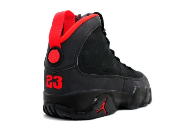 black and red jordan 9