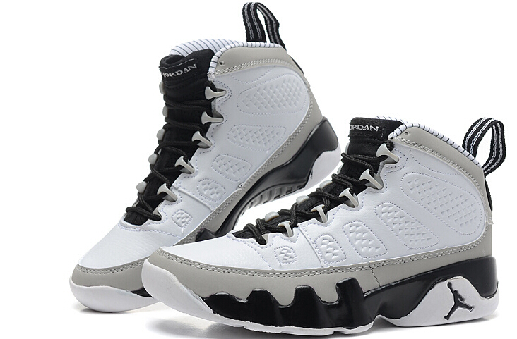 new grey white jordan 9 with number 45 on back
